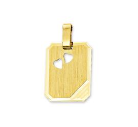 Rechthoekige Gouden Graveerhanger met Diagonale Lijnen en Hartjes