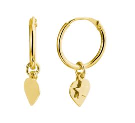 Goudkleurige Zilveren Oorringen met Hart en Ster Hanger