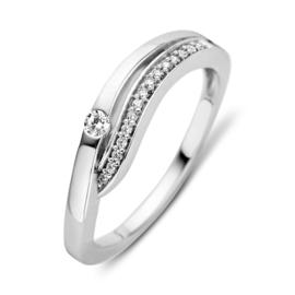 Excellent Jewelry Witgouden Ring met Zirkonia Rij