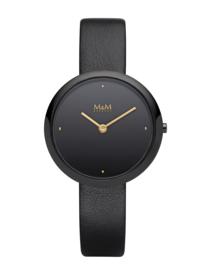 Zwart Basic Dames Horloge met Zwart Lederen Horlogeband van M&M