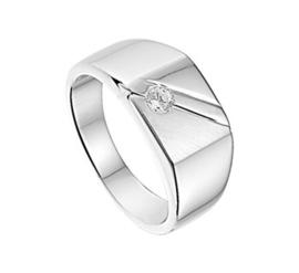 Zilveren Heren Ring met Diagonale Lijnen en Zirkonia