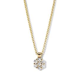 Excellent Jewelry Gouden Collier met 0,20crt. Briljant Kopstuk