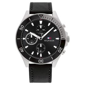 Tommy Hilfiger Elegant Heren Horloge met Zwart Leer