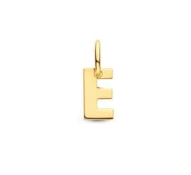 Letter E Hanger in massief 14 Karaat Goud