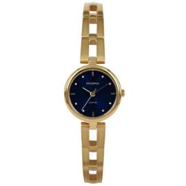 Goudkleurig Dames Horloge met Opengewerkte Schakelband