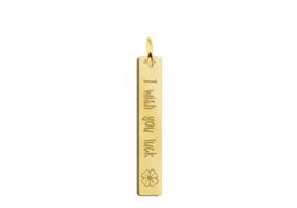 Names4ever Verticale Gouden Bar Ketting Hanger met Klavertje en Gravure