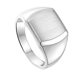 Jongens Graveer Ring van Zilver met Gediamanteerd Vierkantje