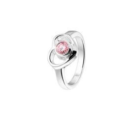 Zilveren Ring voor Kinderen met Opengewerkt Hart en Roze Zirkonia