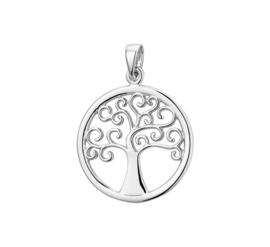 Stevige Sierlijke Levensboom Hanger van Zilver