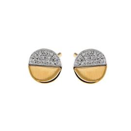 Excellent Jewelry Geelgouden Halve Cirkel Oorstekers met Diamanten