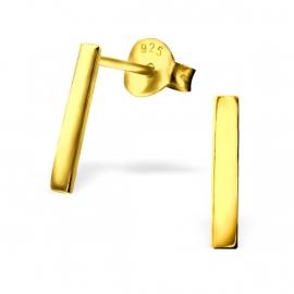 Goudkleurige Bar Oorstekers van Zilver IB23417