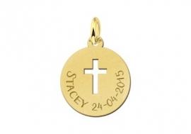Names4ever Gouden Ronde Graveerplaatje met Kruis
