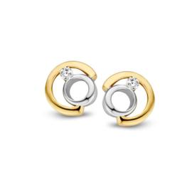 Excellent Jewelry Fantasie Zirkonia Oorstekers van Geelgoud met Witgoud