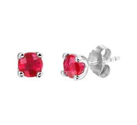 Zilveren Oorknoppen met Synthetische Rode Robijn