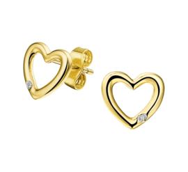 Geelgouden Oorknoppen Hart Diamant 0.01 ct