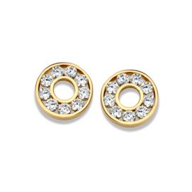 Excellent Jewelry Ronde Oorstekers van Geelgoud met Kleurloze Zirkonia's