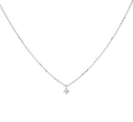 Witgouden Anker Collier met Stijlvolle Diamant 0.03 ct Hanger