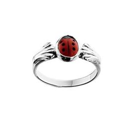 Zilveren Ring voor Kinderen met Rood Lieveheersbeestje
