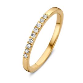Excellent Jewelry Slanke Gouden Ring met 0,12 crt. Briljanten