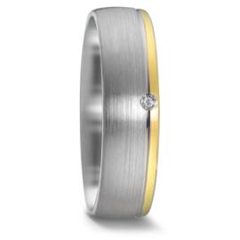 Matte Zilveren Dames Trouwring met Diamant