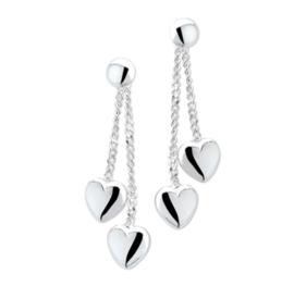 Zilveren Oorhangers met Hart Hangers