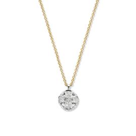 Excellent Jewelry Bicolor Collier met Balvormige Witgouden Hanger
