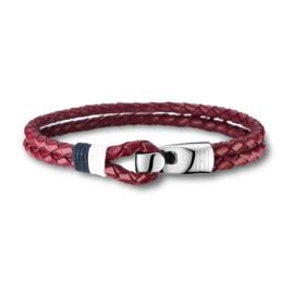 Dubbele Gevlochten Rood Lederen Armband van Tommy Hilfiger TJ2700672