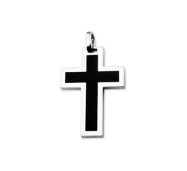 Edelstalen Kruis Hanger met Emaille