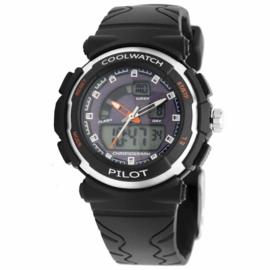 Zwart met Paars Cool Watch Kids Horloge van Kunststof
