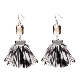 Fashion BIBA Oorhangers met Zwarte en Witte Veertjes
