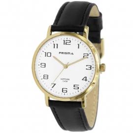 Prisma Horloge 1744 Heren Edelstaal IPG met Datum en Saffier