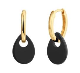 Goudkleurige Oorringen met Druppelvormige Zwarte Onyx