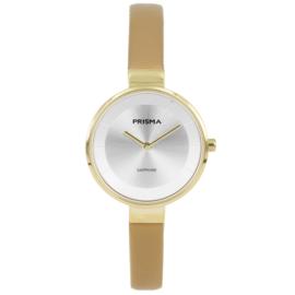 Prisma Goudkleurig Dames Horloge met Edelstalen Horlogeband