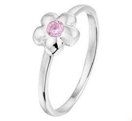 Zilveren Bloem Ring met Roze Zirkonia