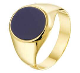 Geelgouden Ring met Ovale Lagensteen