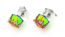 Regenboog Swarovski Kubus Oorstekers van Spark Jewelry