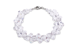 Bicone Armband van Zilver met Blanke Swarovski Kristallen