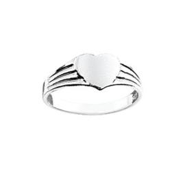 Vlakke Zilveren Ring met Hart Kopstuk / maat 13,5