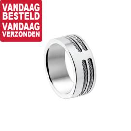 Brede Edelstalen Ring met Kabel Decoraties - Maat 20