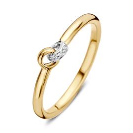 Excellent Jewelry Bicolor Ring met 0,02 crt. Briljanten