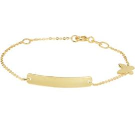 Gouden Vlinder Armband met Graveerplaatje voor Kinderen