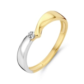 Excellent Jewelry Geelgouden met Witgouden Ring met Zirkonia