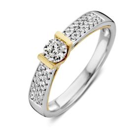 Excellent Jewelry Bicolor Ring met Briljanten en Briljant 0,52 crt. Kopstuk