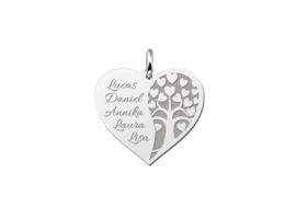 Lente aanbiedingen | Hartvormige Familiehanger met Levensboom van Zilver | Names4ever