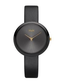 Zwart M&M Dames Horloge met Goudkleurige Wijzers