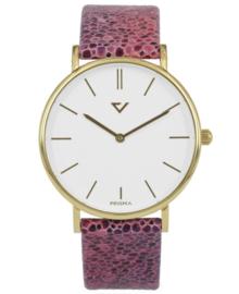 Opvallend Goudkleurig Horloge met Roze Lederen Horlogeband