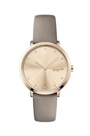 Lacoste Roségoudkleurig Moon Dames Horloge met Bruin Lederen Horlogeband