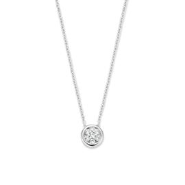 Excellent Jewelry Witgouden Collier met Ronde Briljant Hanger