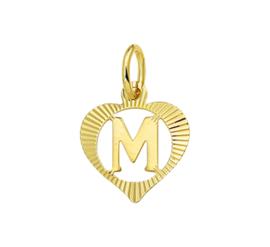 Hartvormige Alfabet Letter M Hanger van Geelgoud