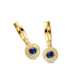 Excellent Jewelry Geelgouden Creolen met Saffier en Briljant Rondje